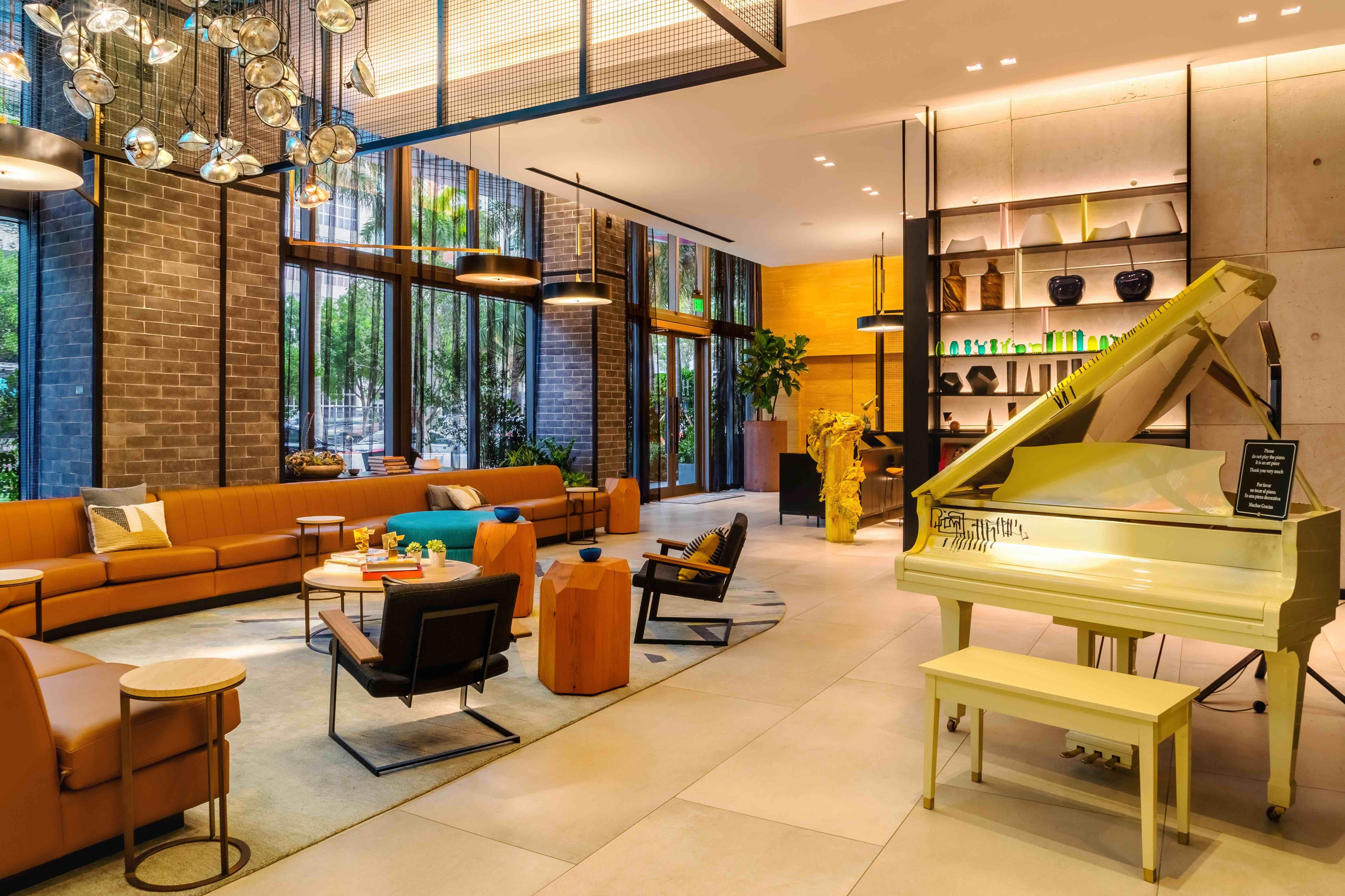 Funky, upscale lobby at Hyde Midtown Miami